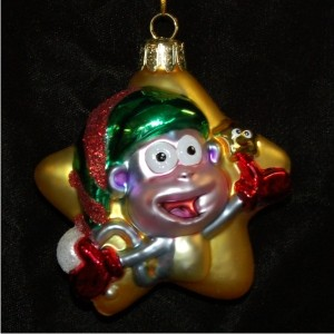 Boots the Star from Dora the Explorer Glass Personalized Christmas Ornament