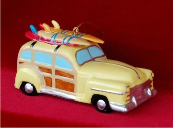 Surfing Woody Wagon Yellow -- incomplete record do not upload, but delete when sold out Personalized Christmas Ornament