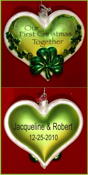 Irish Our First Christmas Glass Personalized Christmas Ornament