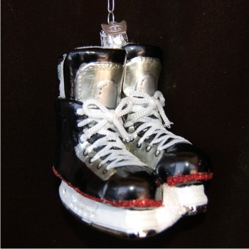 Black Hockey Skates Glass Christmas Ornament