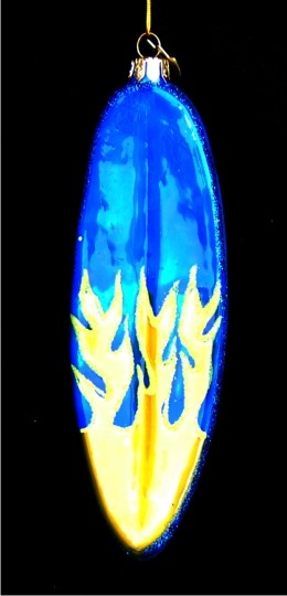 Blue Surfboard Yellow Flames Personalized Surfing Ornament