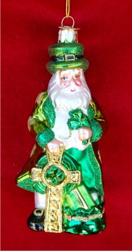 Warm Winter Welcome Irish Santa Personalized Christmas Ornament