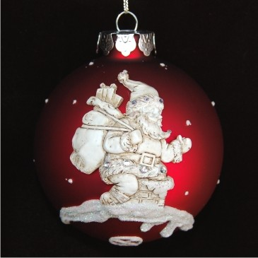 The Joy of Grandchildren with Santa Personalized Glass Christmas Ornament