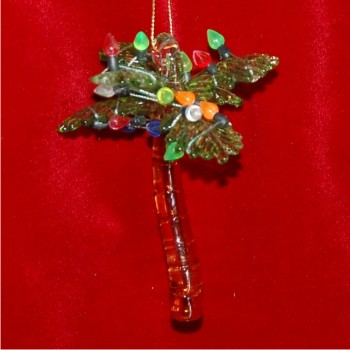 Palm Tree Blown Glass Christmas Ornament