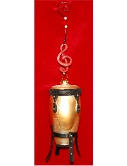 Conga Drum Glass Christmas Ornament Personalized by Russell Rhodes