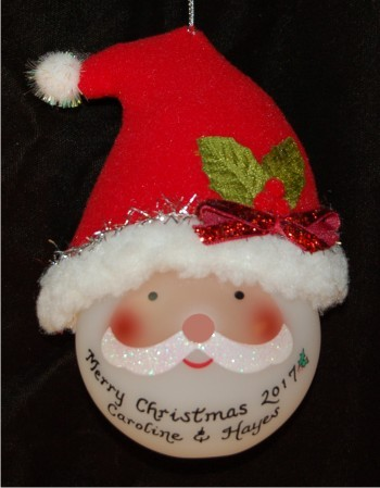 Light-up Santa with Hat Christmas Ornament Personalized by Russell Rhodes
