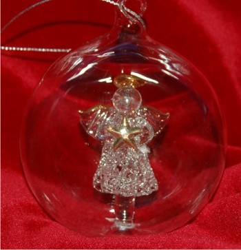 Memorial Angel Hand Blown in Glass Personalized Christmas Ornament Personalized by Russell Rhodes