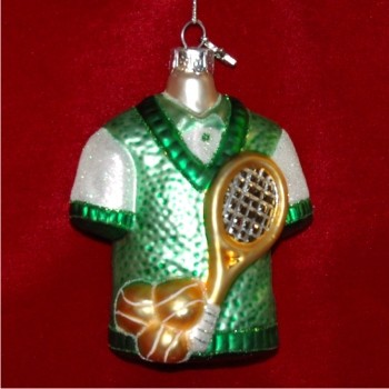 Tennis Gear Glass Christmas Ornament