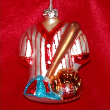 Baseball Gear Glass Personalized Christmas Ornament