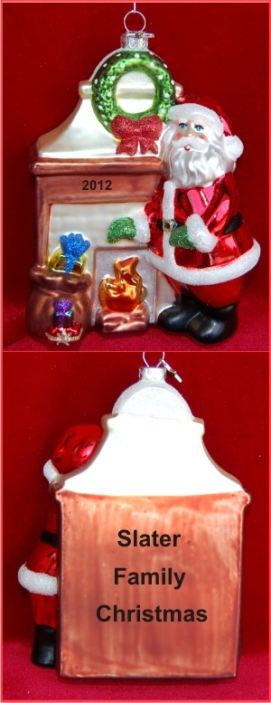 Our Family Fireplace Santa Christmas Ornament Personalized by Russell Rhodes