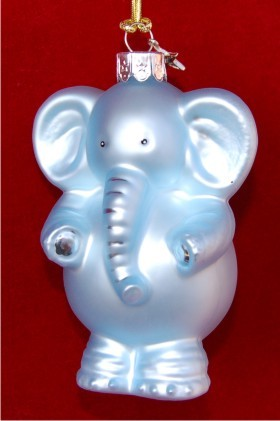 Blue Baby Elephant Personalized Christmas Ornament