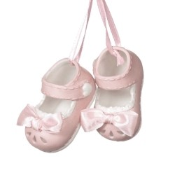 Sturdy-fire Porcelain Pink Baby Shoes Christmas Ornament