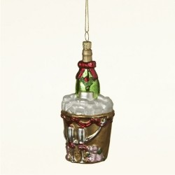 Champagne Bucket Glass Personalized Christmas Ornament