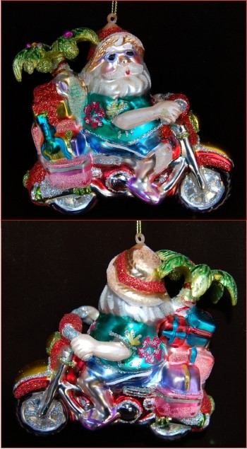 Beachbound Santa Motorcycle Christmas Ornament