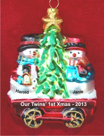 Red Wagon Twins' First Christmas Glass Christmas Ornament