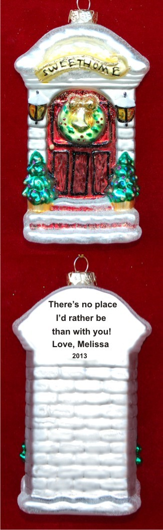 Our Sweet Home With Love Glass Christmas Ornament Personalized