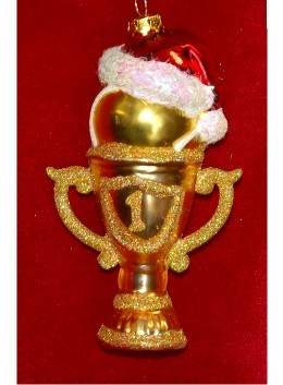 #1 Tennis Trophy Glass Personalized Christmas Ornament