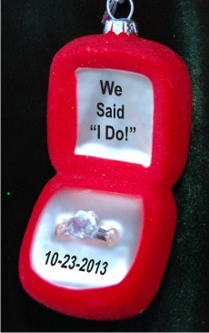 We Said I do! Ring Box Glass Christmas Ornament Personalized