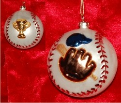 Baseball Champ Glass Christmas Ornament