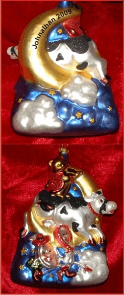 Cow Jumped Over the Moon Baby Nursery Rhyme Glass Christmas Ornament
