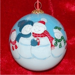 Snow Family of 6 Glass Ball Christmas Ornament Personalized by Russell Rhodes