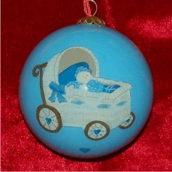 Baby Buggy for Boys Glass Ball Personalized Christmas Ornament