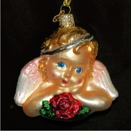 Cherub Blonde Glass Personalized Christmas Ornament