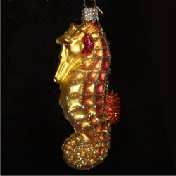 Golden Seahorse Glass Christmas Ornament