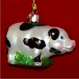 Black and White Pig Glass Christmas Ornament Personalized by Russell Rhodes