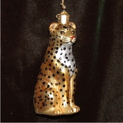 Leopard Glass Christmas Ornament Personalized by Russell Rhodes