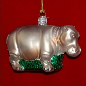 Hippopotamus Glass Personalized Christmas Ornament