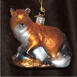 Red Fox Glass Christmas Ornament Personalized by Russell Rhodes