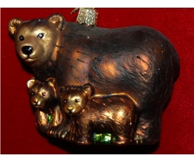 Bear with Cubs Personalized Christmas Ornament