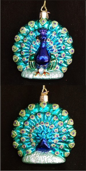Proud Peacock Glass Christmas Ornament