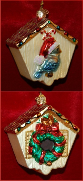 Holiday Birdhouse Glass Christmas Ornament Personalized by Russell Rhodes