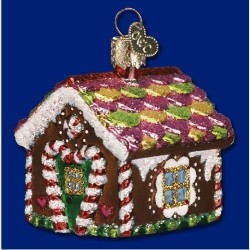 Gingerbread House Blown Glass Personalized Christmas Ornament