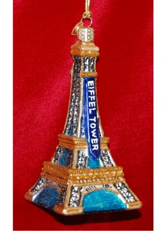 Eiffel Tower Glass Christmas Ornament