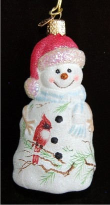 Glistening Snowman with Christmas Cardinal Glass Christmas Ornament