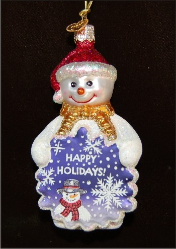 Glistening Snowman Glass Christmas Ornament Personalized by Russell Rhodes