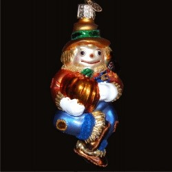 Scarecrow Glass Christmas Ornament