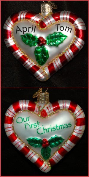 Our First Christmas Peppermint Twist Heart Glass Personalized Christmas Ornament