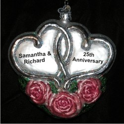 Entwined Hearts Pink Roses Glass Personalized Christmas Ornament