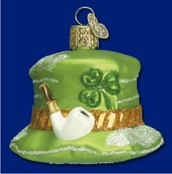 Patrick's Hat Irish Glass Personalized Christmas Ornament