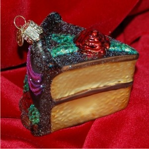 Piece of Cake Chocolate Icing Christmas Ornament Personalized by Russell Rhodes