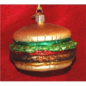 Cheeseburger Glass Christmas Ornament Personalized by Russell Rhodes