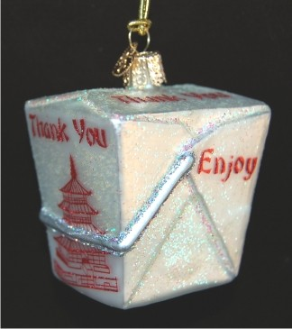Chinese Take-Out Glass Christmas Ornament