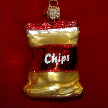 Bag of Chips Glass Christmas Ornament Personalized by Russell Rhodes
