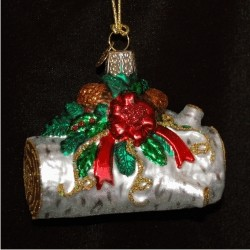 Yule Log Glass Christmas Ornament Personalized by Russell Rhodes