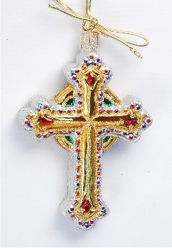 Bejeweled Holy Cross Glass Ornament Glass Christmas