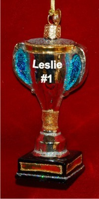 Lacrosse Trophy Christmas Ornament Personalized by Russell Rhodes